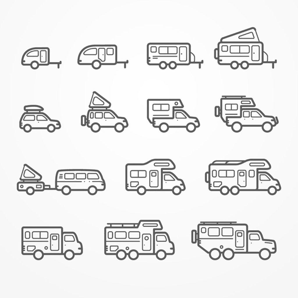 Zeichnungen von den verschiedenen Wohnmobil-Arten. Von kleinen Wohnanhängern, über ein Auto mit Dachzelt und Wohnwagen-Aufsätzen bis zu großen Wohnmobilen mit Alkoven (Schlafplatz über dem Fahrerhäuschen).